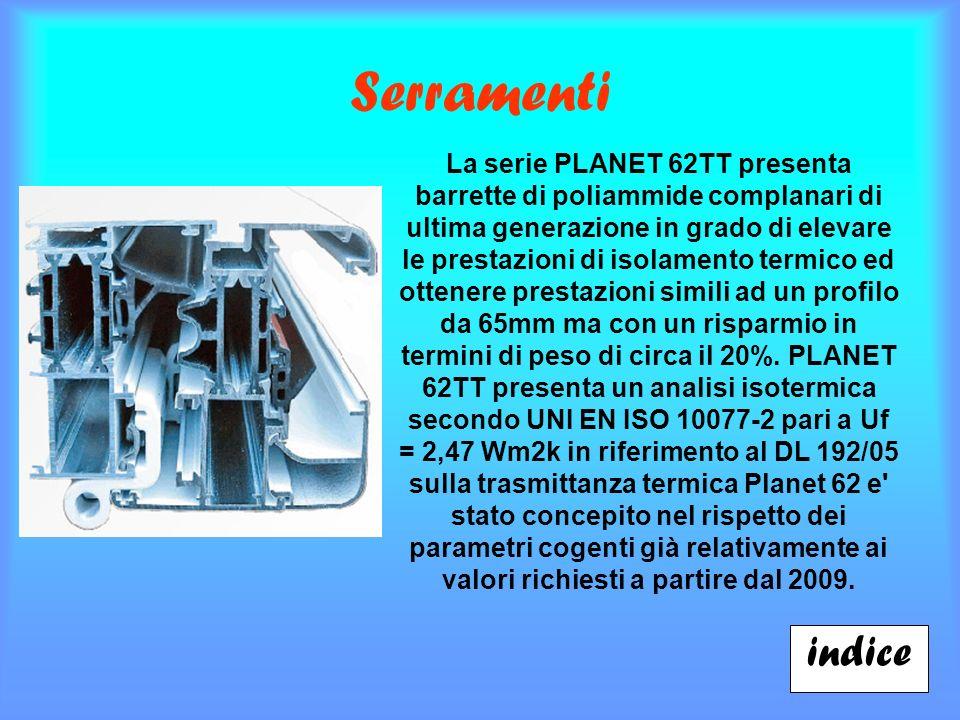 Serramenti indice La serie PLANET 62TT presenta barrette di poliammide complanari di ultima generazione in grado di elevare le prestazioni di isolamento termico ed ottenere prestazioni simili ad un profilo da 65mm ma con un risparmio in termini di peso di circa il 20%.