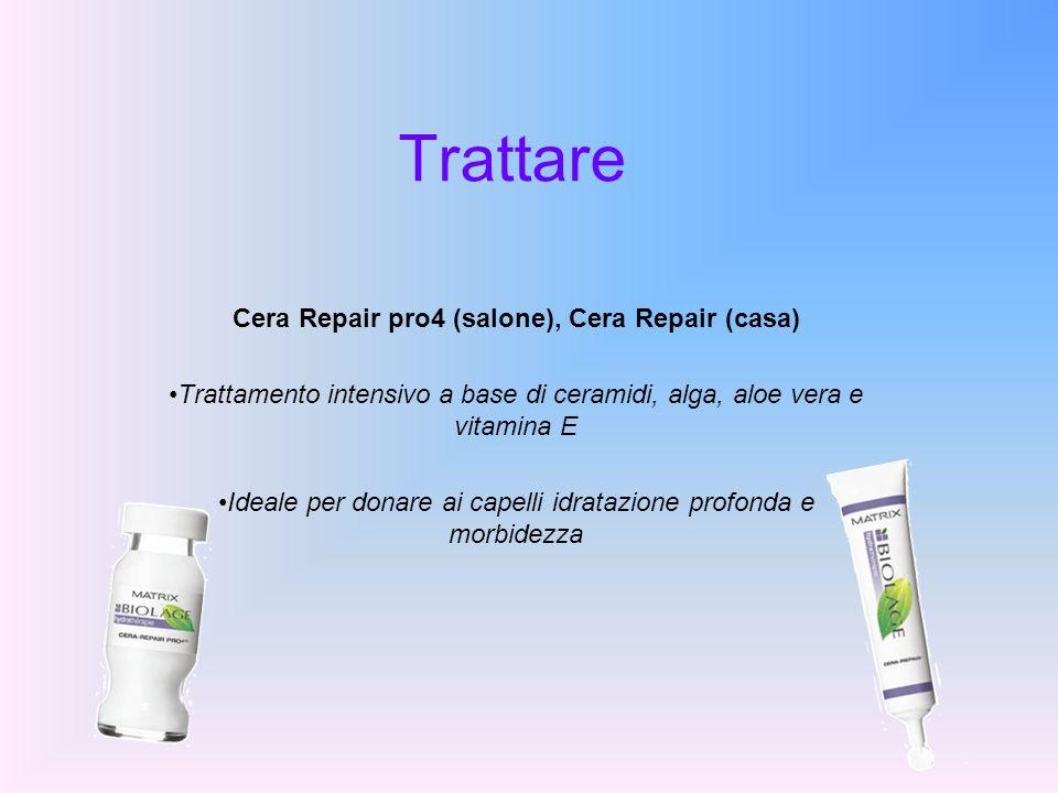 Trattare Cera Repair pro4 (salone), Cera Repair (casa) Trattamento intensivo a base di ceramidi, alga, aloe vera e vitamina E Ideale per donare ai cap