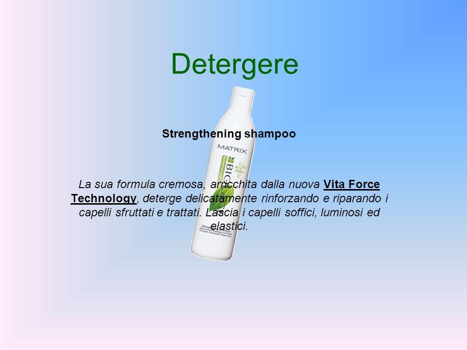 Detergere Strengthening shampoo La sua formula cremosa, arricchita dalla nuova Vita Force Technology, deterge delicatamente rinforzando e riparando i