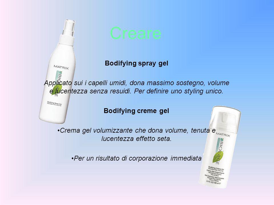 Creare Bodifying spray gel Applicato sui i capelli umidi, dona massimo sostegno, volume e lucentezza senza resuidi. Per definire uno styling unico. Bo