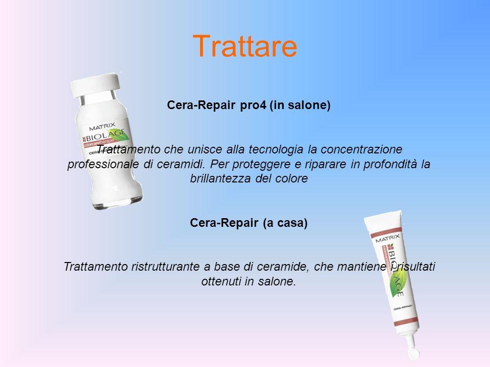 Trattare Cera-Repair pro4 (in salone) Trattamento che unisce alla tecnologia la concentrazione professionale di ceramidi. Per proteggere e riparare in
