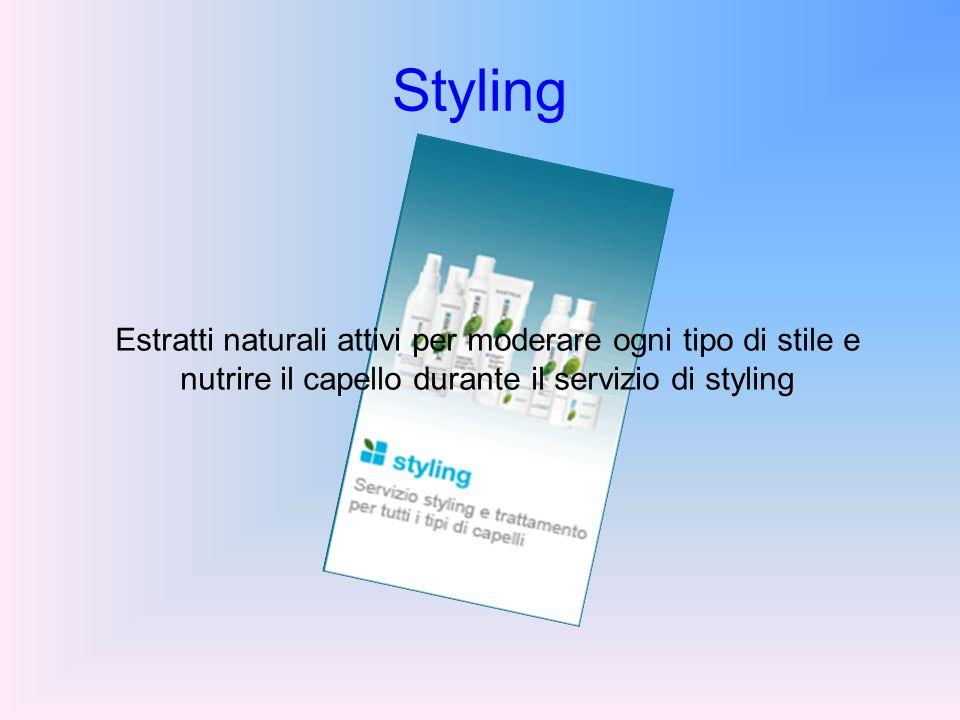 Styling Estratti naturali attivi per moderare ogni tipo di stile e nutrire il capello durante il servizio di styling