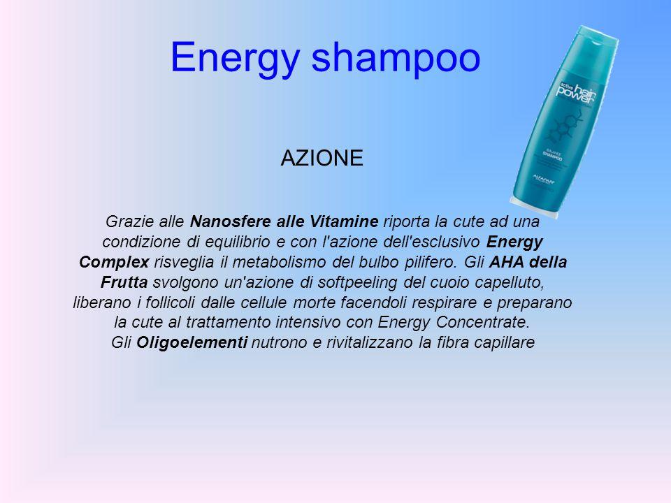 Energy shampoo AZIONE Grazie alle Nanosfere alle Vitamine riporta la cute ad una condizione di equilibrio e con l'azione dell'esclusivo Energy Complex