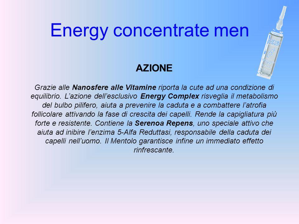 Energy concentrate men AZIONE Grazie alle Nanosfere alle Vitamine riporta la cute ad una condizione di equilibrio. Lazione dellesclusivo Energy Comple