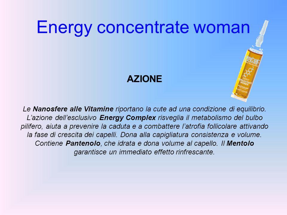 Energy concentrate woman AZIONE Le Nanosfere alle Vitamine riportano la cute ad una condizione di equilibrio. Lazione dellesclusivo Energy Complex ris