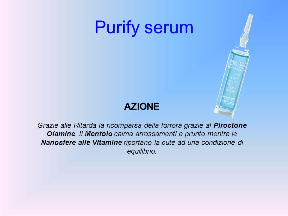 Purify serum AZIONE Grazie alle Ritarda la ricomparsa della forfora grazie al Piroctone Olamine. Il Mentolo calma arrossamenti e prurito mentre le Nan
