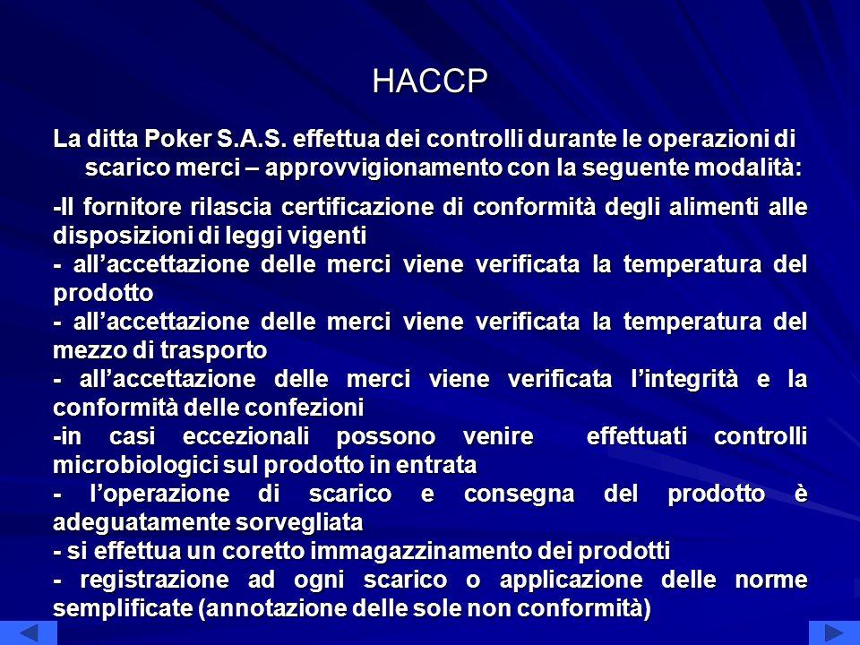 HACCP La ditta Poker S.A.S. effettua dei controlli durante le operazioni di scarico merci – approvvigionamento con la seguente modalità: -Il fornitore