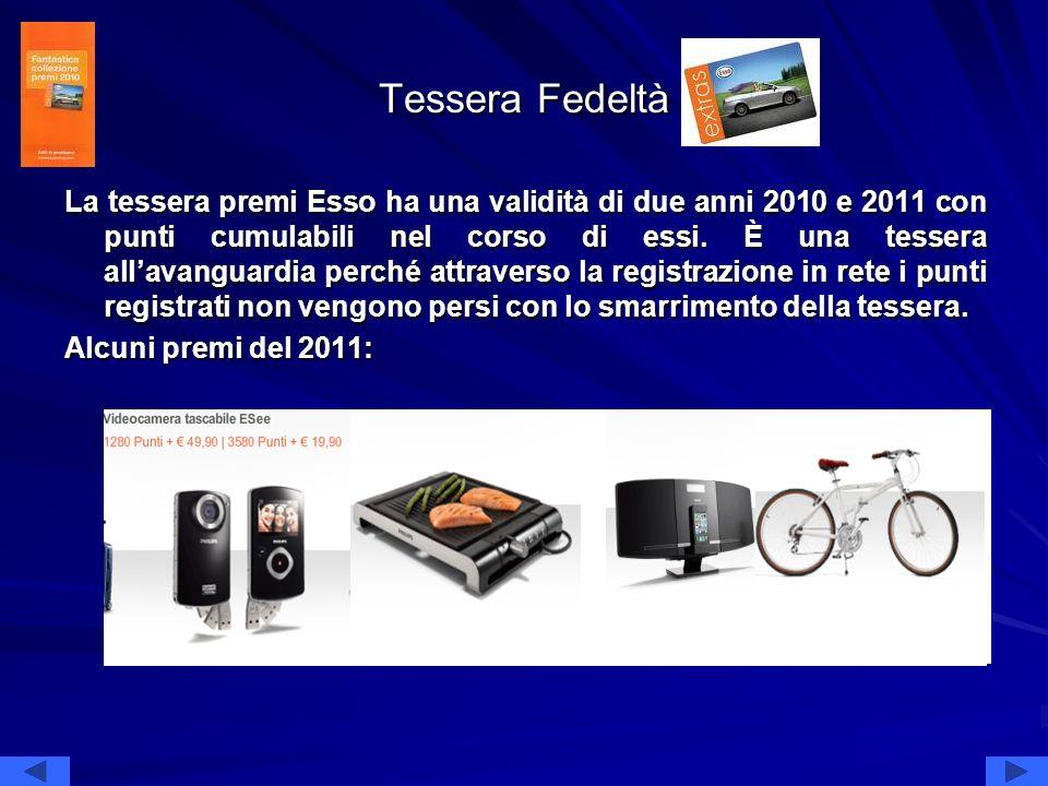Tessera Fedeltà La tessera premi Esso ha una validità di due anni 2010 e 2011 con punti cumulabili nel corso di essi. È una tessera allavanguardia per