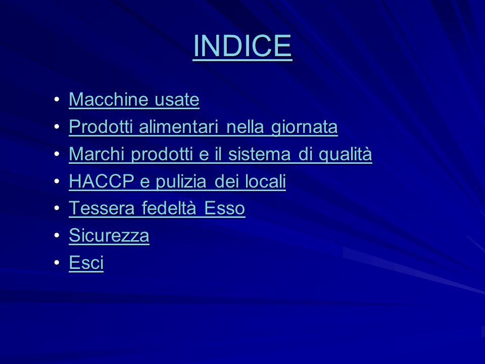 INDICE Macchine usateMacchine usateMacchine usateMacchine usate Prodotti alimentari nella giornataProdotti alimentari nella giornataProdotti alimentar