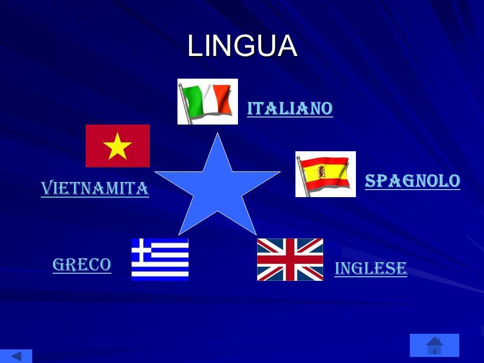 LINGUA italiano Spagnolo INGLESE GRECO vietnamita