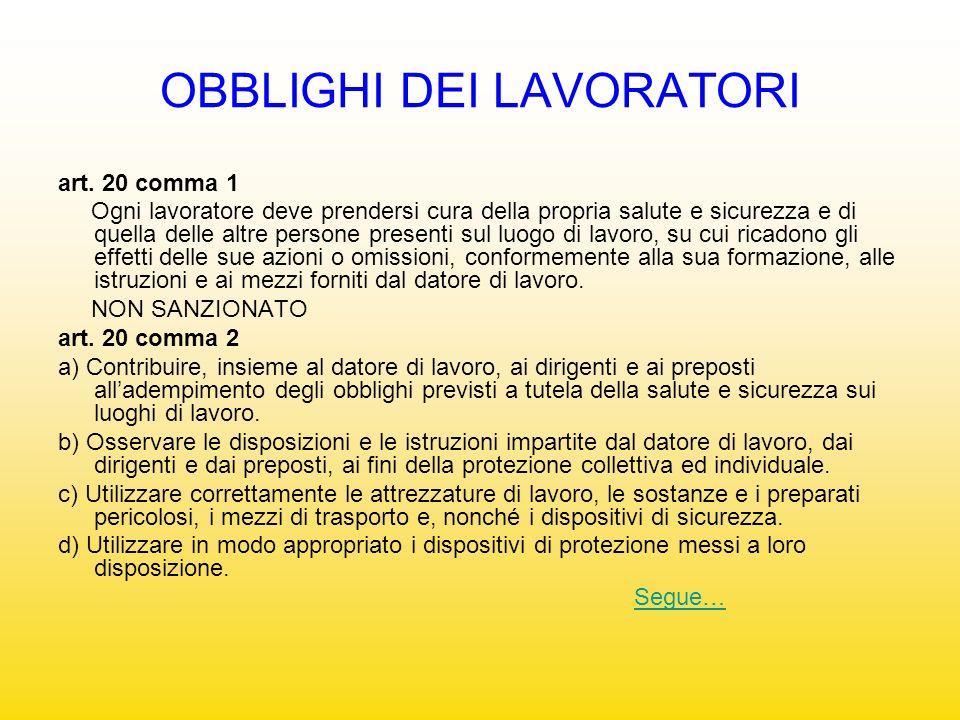 OBBLIGHI DEI LAVORATORI art. 20 comma 1 Ogni lavoratore deve prendersi cura della propria salute e sicurezza e di quella delle altre persone presenti