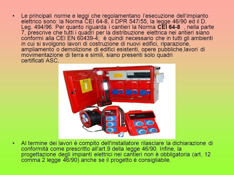 Le principali norme e leggi che regolamentano lesecuzione dellimpianto elettrico sono: la Norma CEI 64-8, il DPR 547/55, la legge 46/90 ed il D. Leg.