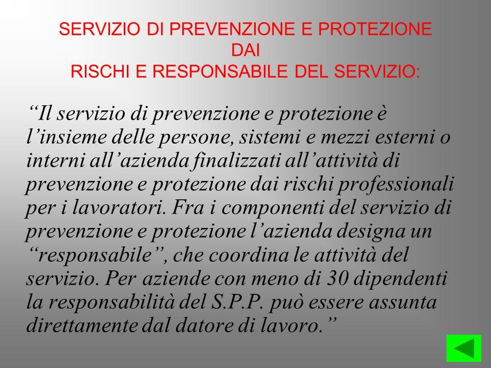 SERVIZIO DI PREVENZIONE E PROTEZIONE DAI RISCHI E RESPONSABILE DEL SERVIZIO: Il servizio di prevenzione e protezione è linsieme delle persone, sistemi
