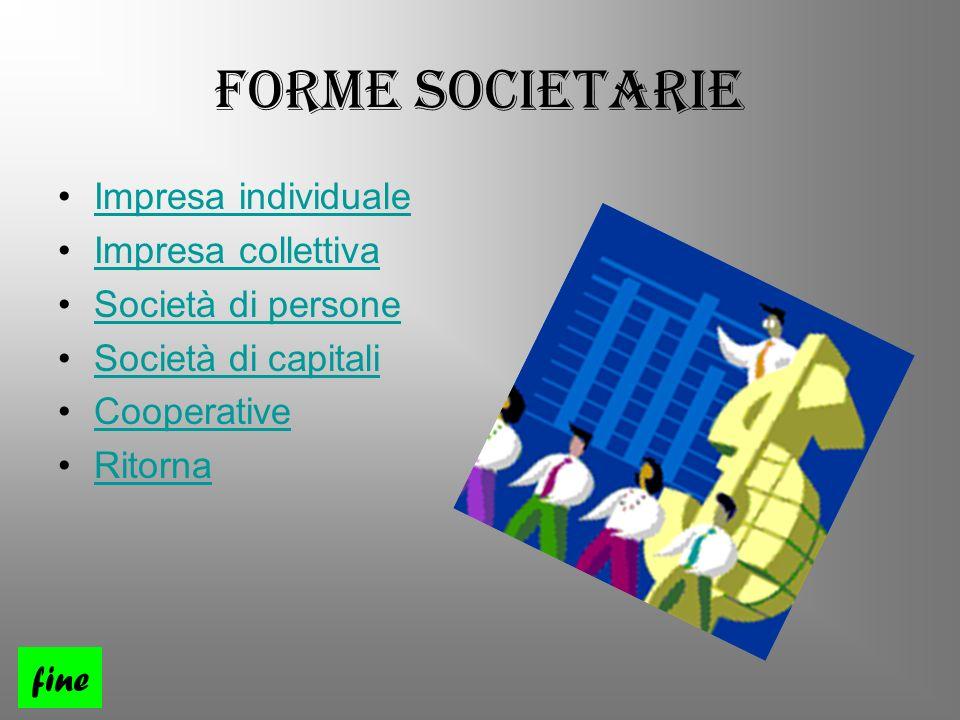 Forme Societarie Impresa individuale Impresa collettiva Società di persone Società di capitali Cooperative Ritorna fine