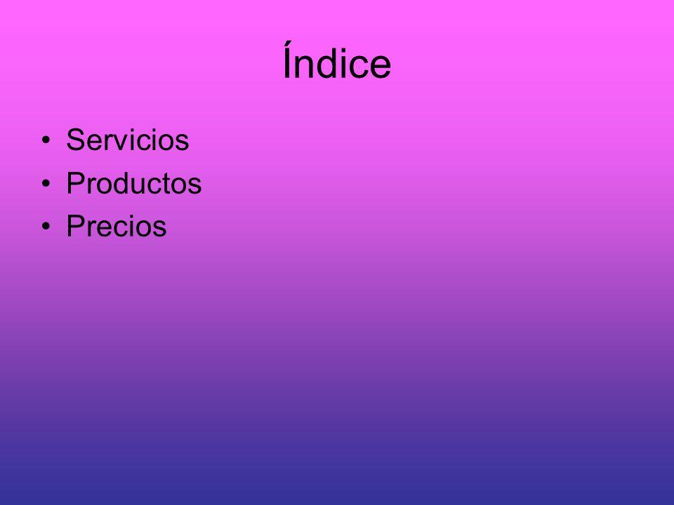 Índice Servicios Productos Precios