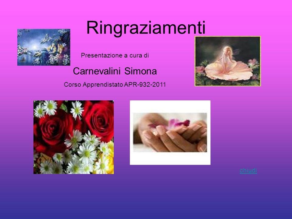 Ringraziamenti Presentazione a cura di Carnevalini Simona Corso Apprendistato APR-932-2011 chiudi
