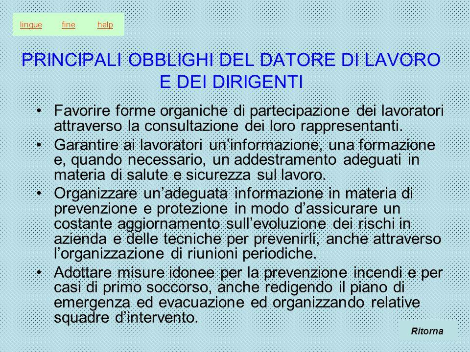 PRINCIPALI OBBLIGHI DEL DATORE DI LAVORO E DEI DIRIGENTI Favorire forme organiche di partecipazione dei lavoratori attraverso la consultazione dei lor