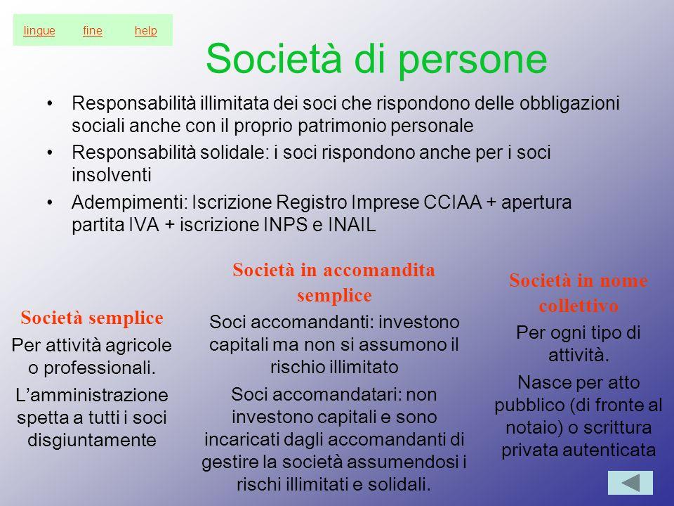 Società di persone Responsabilità illimitata dei soci che rispondono delle obbligazioni sociali anche con il proprio patrimonio personale Responsabili
