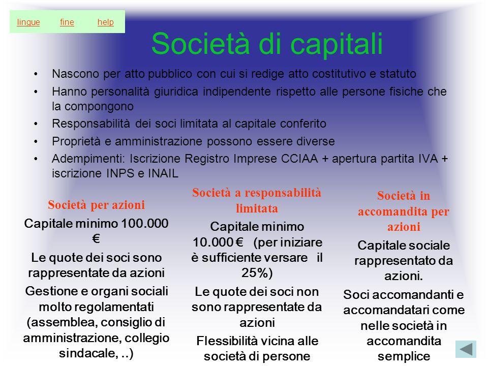 Società di capitali Nascono per atto pubblico con cui si redige atto costitutivo e statuto Hanno personalità giuridica indipendente rispetto alle pers