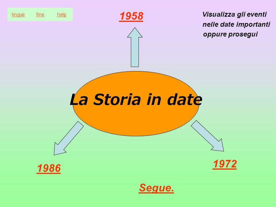 La Storia in date 1958 1972 1986 Segue. linguefinehelp Visualizza gli eventi nelle date importanti oppure prosegui