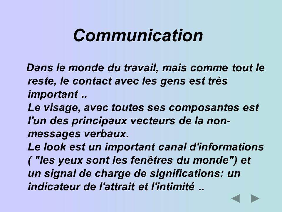 Communication Dans le monde du travail, mais comme tout le reste, le contact avec les gens est très important.. Le visage, avec toutes ses composantes