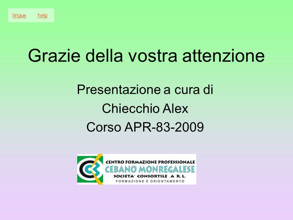 Grazie della vostra attenzione Presentazione a cura di Chiecchio Alex Corso APR-83-2009 linguehelp