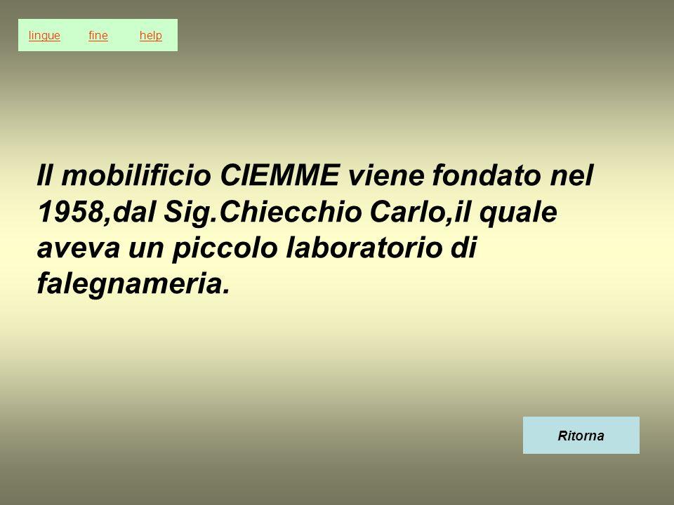 Il mobilificio CIEMME viene fondato nel 1958,dal Sig.Chiecchio Carlo,il quale aveva un piccolo laboratorio di falegnameria. Ritorna linguefinehelp