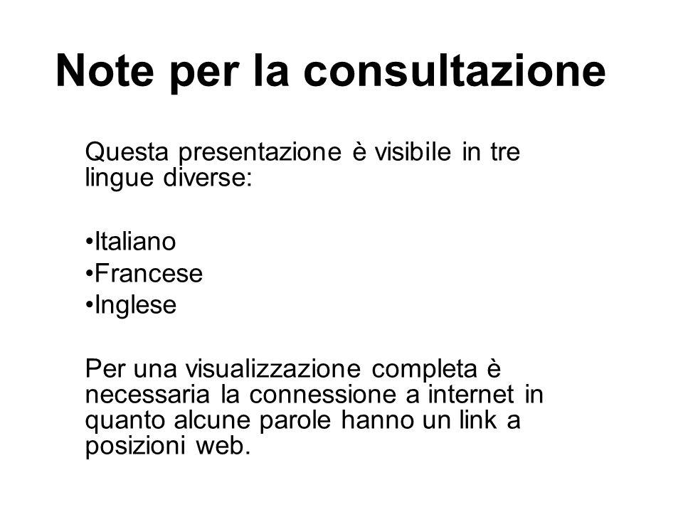 Note per la consultazione Questa presentazione è visibile in tre lingue diverse: Italiano Francese Inglese Per una visualizzazione completa è necessaria la connessione a internet in quanto alcune parole hanno un link a posizioni web.