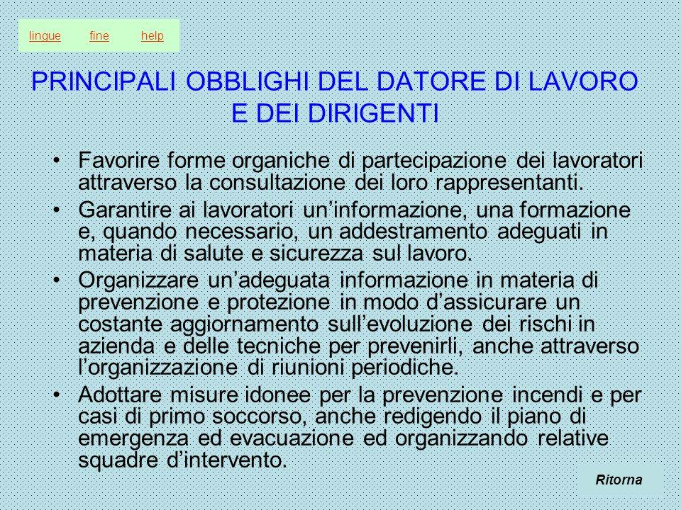 PRINCIPALI OBBLIGHI DEL DATORE DI LAVORO E DEI DIRIGENTI Favorire forme organiche di partecipazione dei lavoratori attraverso la consultazione dei loro rappresentanti.