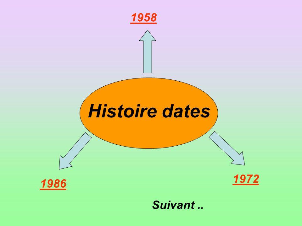 Histoire dates 1958 1972 1986 Suivant..
