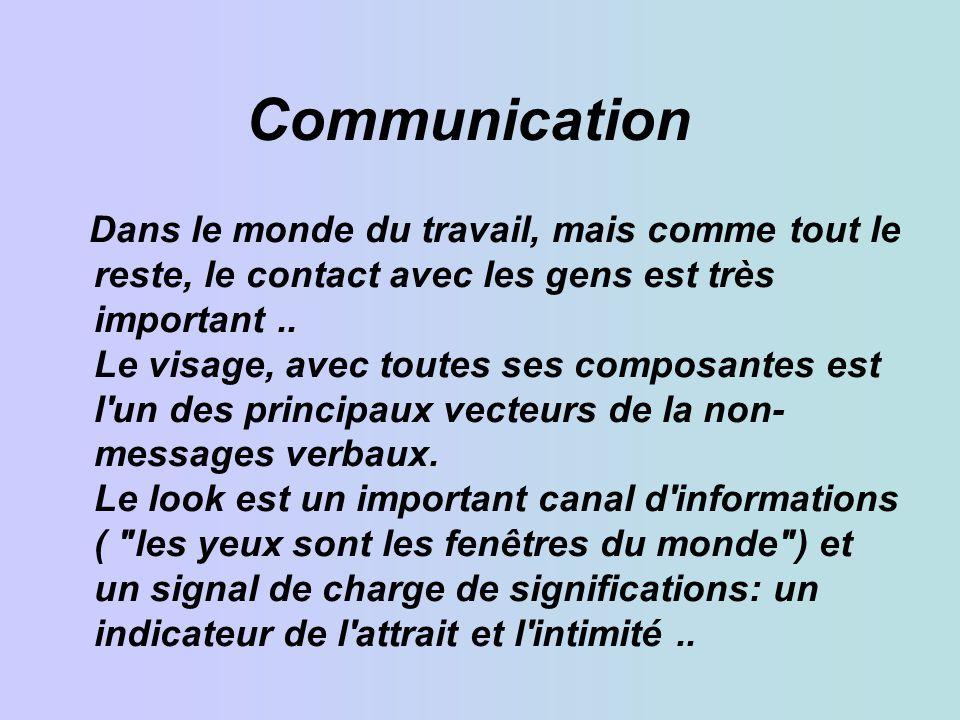 Communication Dans le monde du travail, mais comme tout le reste, le contact avec les gens est très important..
