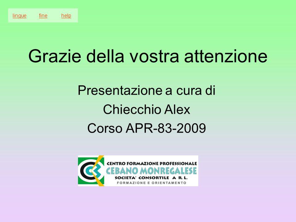 Grazie della vostra attenzione Presentazione a cura di Chiecchio Alex Corso APR-83-2009 linguefinehelp