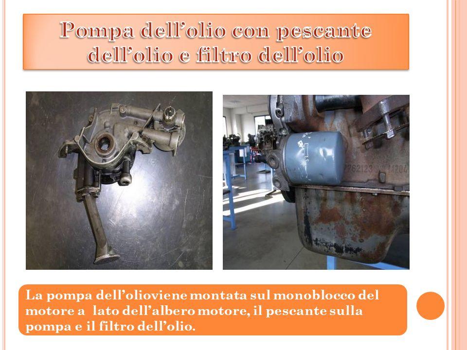 La pompa dellolioviene montata sul monoblocco del motore a lato dellalbero motore, il pescante sulla pompa e il filtro dellolio.