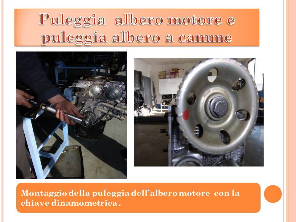 Montaggio della puleggia dellalbero motore con la chiave dinamometrica.