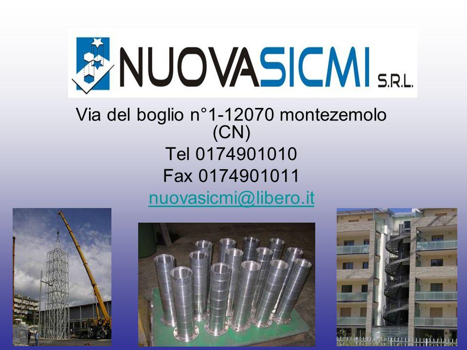 Via del boglio n°1-12070 montezemolo (CN) Tel 0174901010 Fax 0174901011 nuovasicmi@libero.it