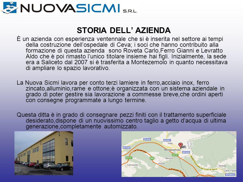 STORIA DELL AZIENDA È un azienda con esperienza ventennale che si è inserita nel settore ai tempi della costruzione dellospedale di Ceva; i soci che h