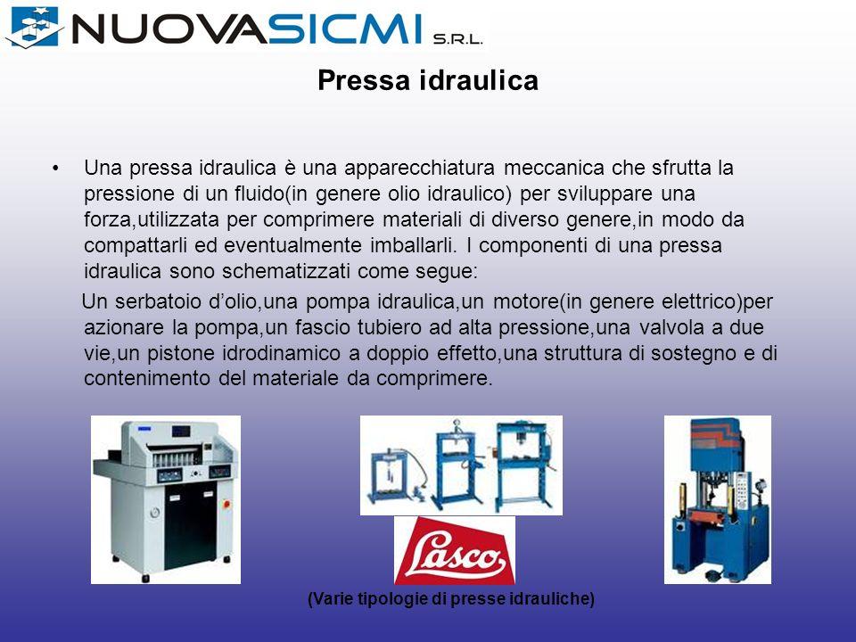 Pressa idraulica Una pressa idraulica è una apparecchiatura meccanica che sfrutta la pressione di un fluido(in genere olio idraulico) per sviluppare u