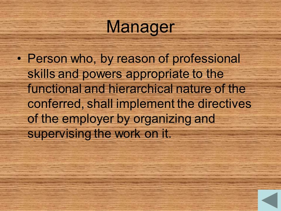 Manager Person who, by reason of professional skills and powers appropriate to the functional and hierarchical nature of the conferred, shall implemen