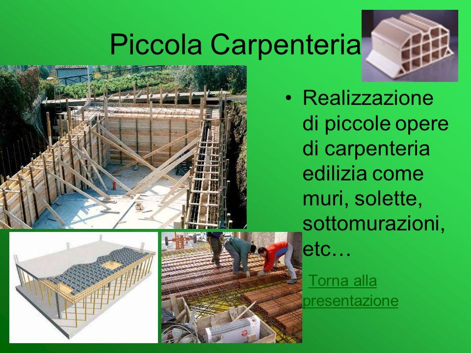 Piccola Carpenteria Realizzazione di piccole opere di carpenteria edilizia come muri, solette, sottomurazioni, etc… Torna alla presentazione Torna all