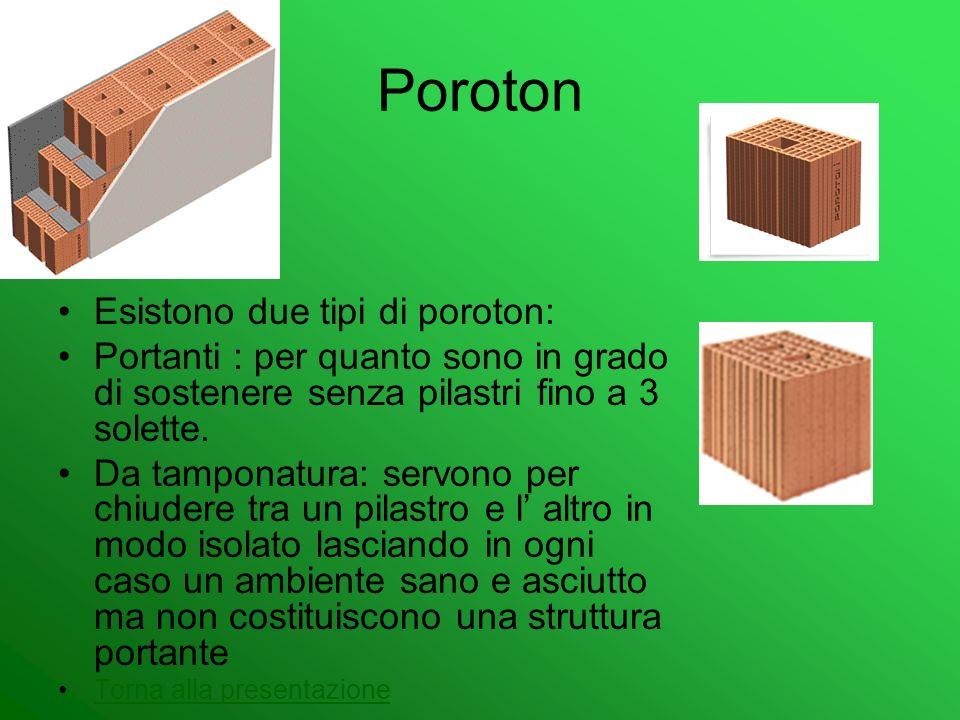 Poroton Esistono due tipi di poroton: Portanti : per quanto sono in grado di sostenere senza pilastri fino a 3 solette. Da tamponatura: servono per ch