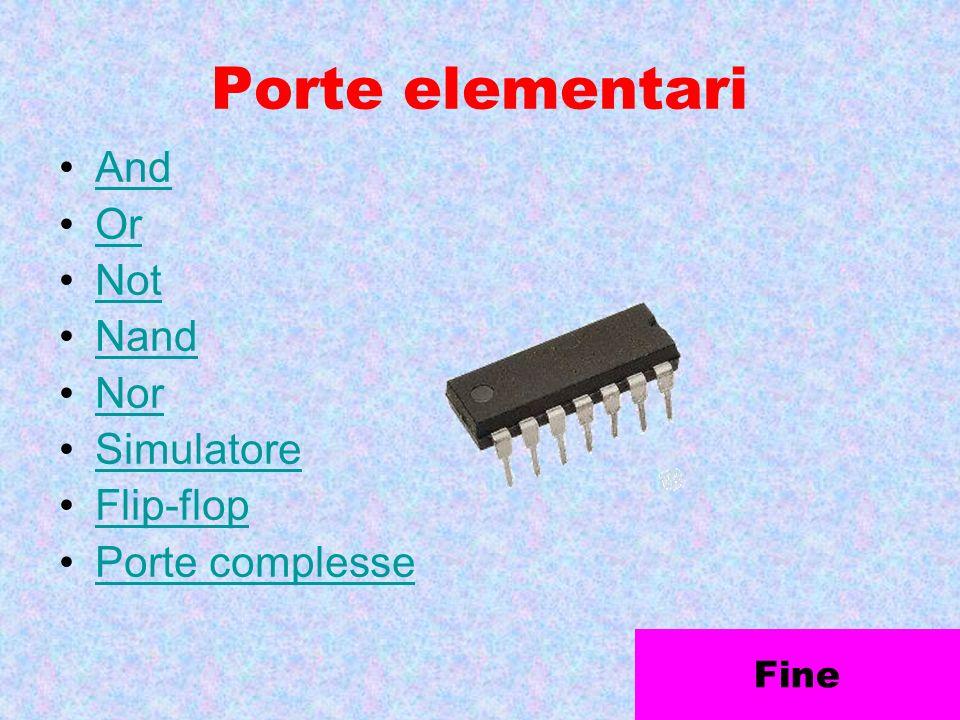 Porte elementari And Or Not Nand Nor Simulatore Flip-flop Porte complesse Fine