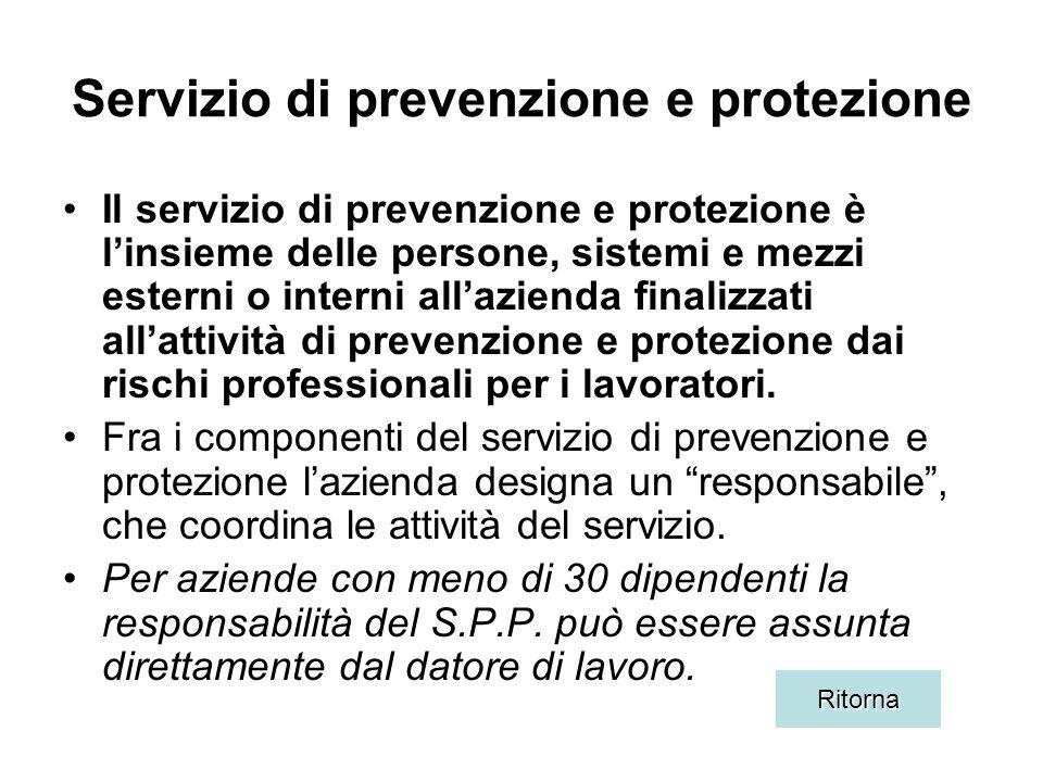Servizio di prevenzione e protezione Il servizio di prevenzione e protezione è linsieme delle persone, sistemi e mezzi esterni o interni allazienda finalizzati allattività di prevenzione e protezione dai rischi professionali per i lavoratori.
