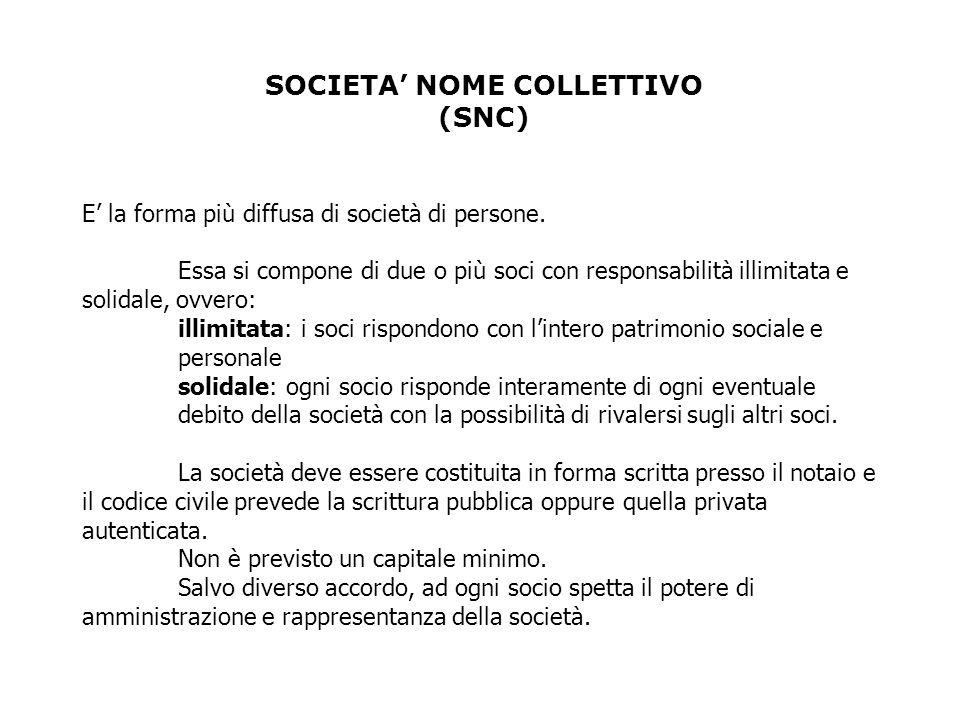SOCIETA NOME COLLETTIVO (SNC) E la forma più diffusa di società di persone.