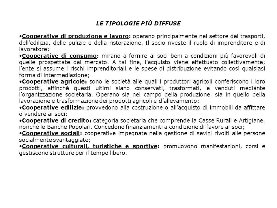 LE TIPOLOGIE PIÙ DIFFUSE Cooperative di produzione e lavoro: operano principalmente nel settore dei trasporti, delledilizia, delle pulizie e della ristorazione.