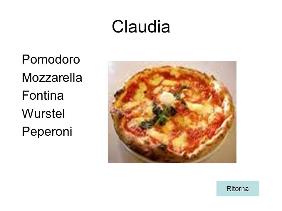 Claudia Pomodoro Mozzarella Fontina Wurstel Peperoni Ritorna
