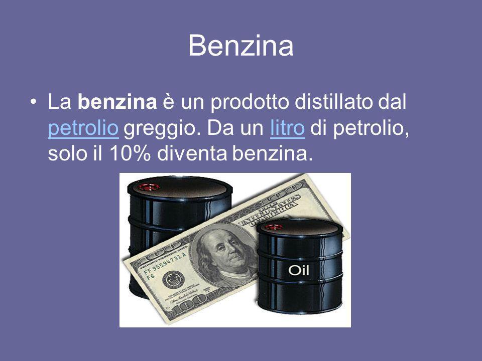Benzina La benzina è un prodotto distillato dal petrolio greggio. Da un litro di petrolio, solo il 10% diventa benzina. petroliolitro