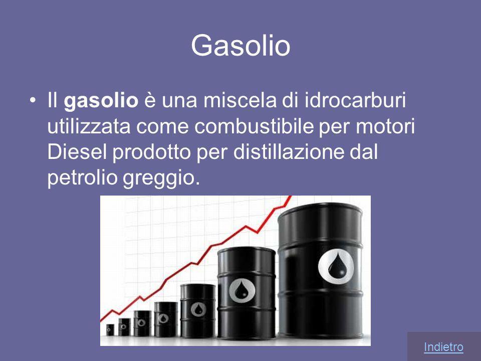 Gasolio Il gasolio è una miscela di idrocarburi utilizzata come combustibile per motori Diesel prodotto per distillazione dal petrolio greggio. Indiet
