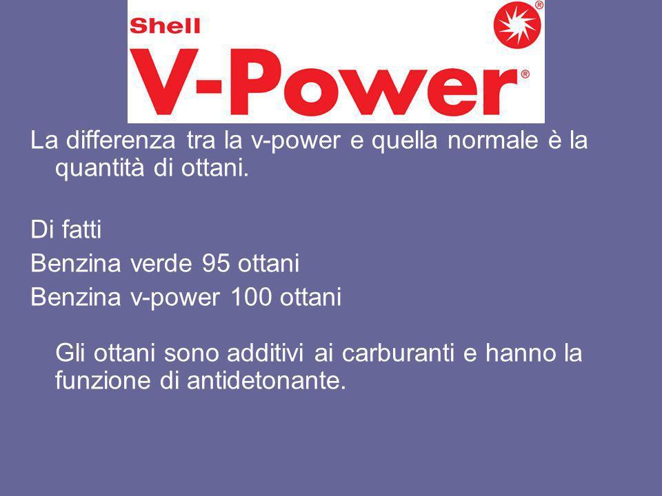 V-Power La differenza tra la v-power e quella normale è la quantità di ottani. Di fatti Benzina verde 95 ottani Benzina v-power 100 ottani Gli ottani