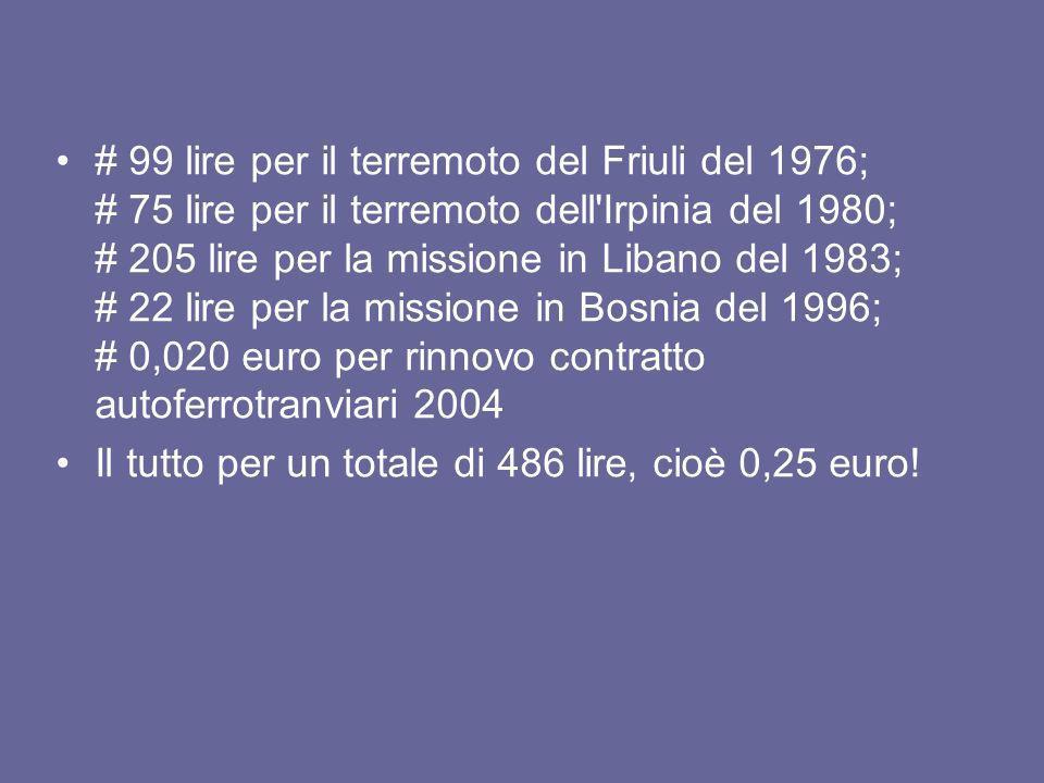 # 99 lire per il terremoto del Friuli del 1976; # 75 lire per il terremoto dell'Irpinia del 1980; # 205 lire per la missione in Libano del 1983; # 22