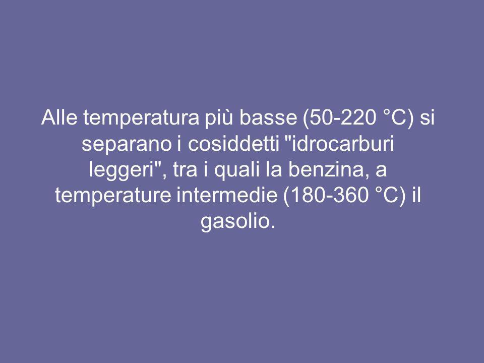 Alle temperatura più basse (50-220 °C) si separano i cosiddetti